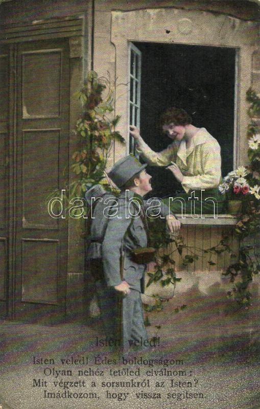 Soldier of the Austro-Hungarian Army saying farewell to his sweetheart, WWI, 'Isten veled!' c. vers, a K.u.K. hadsereg katonája búcsúzik kedvesétől, I. világháború