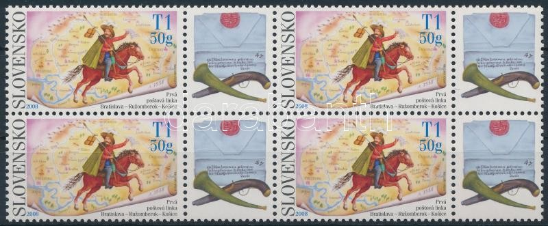 Stamp Day block of 4 with coupon, Bélyeg nap szelvényes 4-es tömb