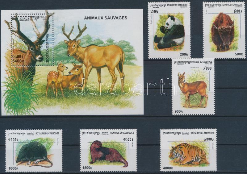 Wild animals set + block, Vadon élő állatok sor + blokk