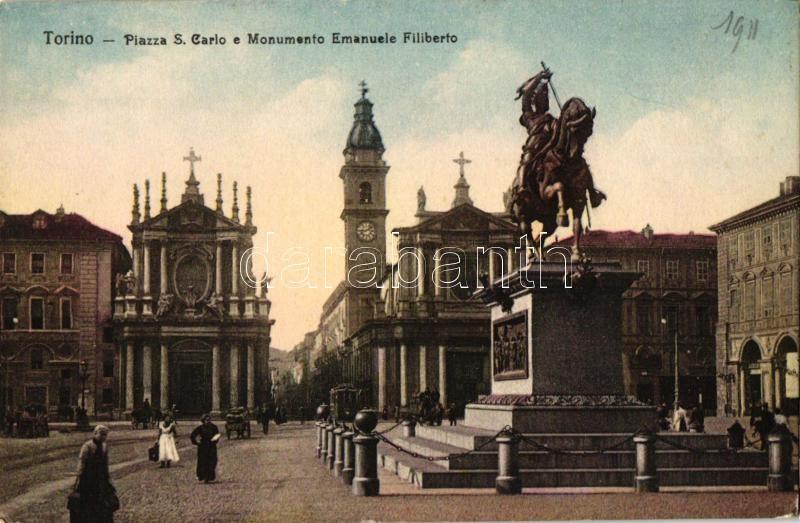 Torino, Turin; Piazza S. Carlo e Monumento Emanuele Filiberto / square with statue