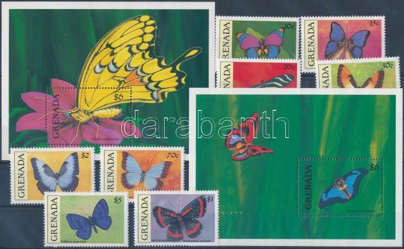 Butterflies 8 stamps, Lepkék 8 érték