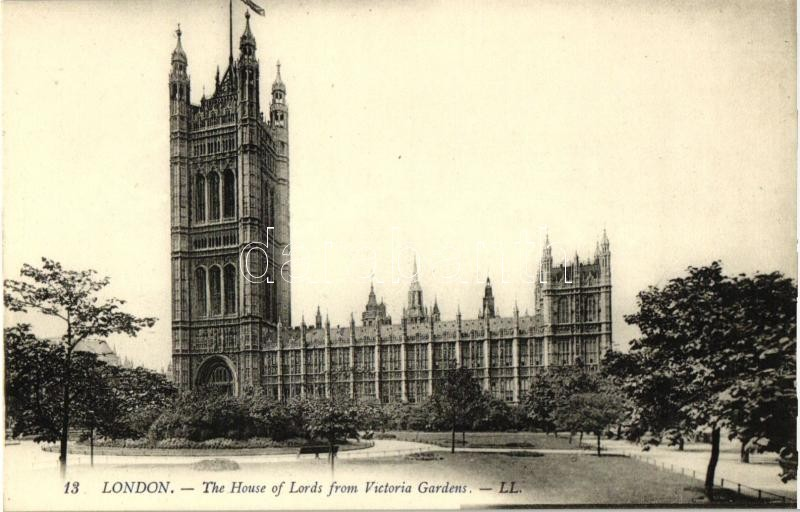 London, The House of Lords from Victoria Gardens