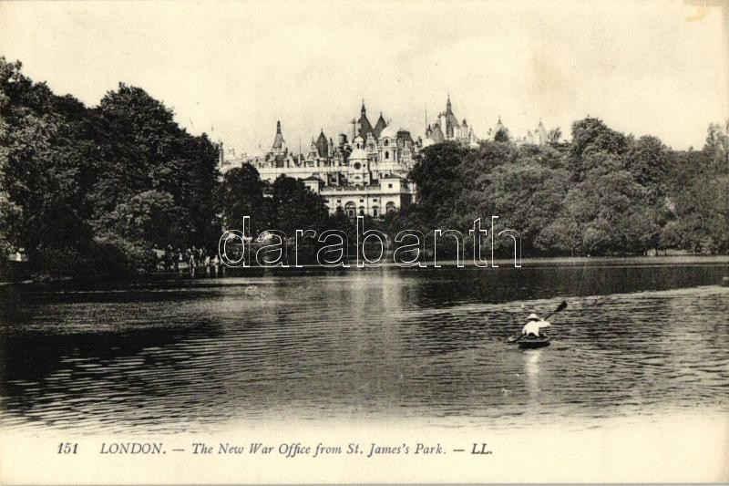 London, The New War Office from St. James's Park, man in kayak