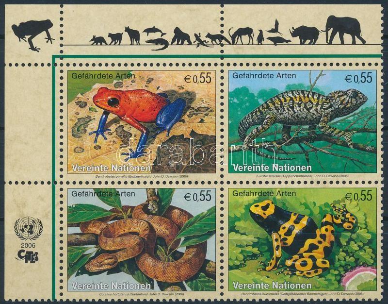 Endangered animals corner block of 4, Veszélyeztetett állatok ívsarki 4-es tömb
