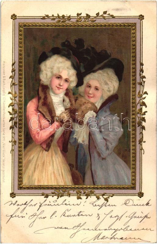 Ladies in frame, Meissner & Buch Künstlerpostkarten Serie 1091., litho, Emb. s: M.S., Hölgyek díszes keretben, Meissner & Buch Künstlerpostkarten Serie 1091., litho, s: M.S.
