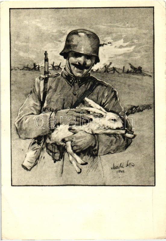 WWII Hungarian military Easter greeting s: Markó Lajos (?), 2. világháborús honvéd húsvéti üdvözlet