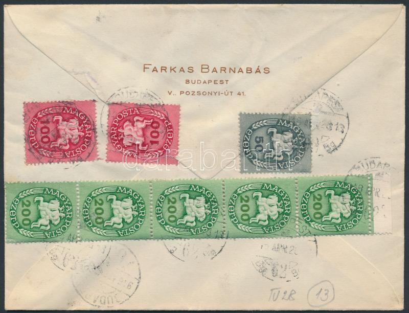 Inflation cover, (13. díjszabás) Helyi ajánlott levél 3 klf színű Lovasfutár bérmentesítéssel (1-1 db 50eP és 100eP-s bélyeg levélnyitáskor elszakadt)