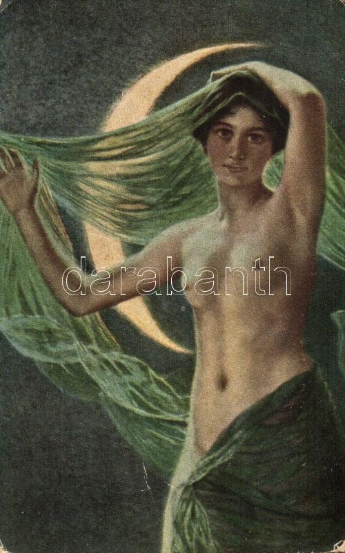Noc / Erotic nude art postcard s: Courten, Erotikus meztelen művészeti képeslap, s: Courten