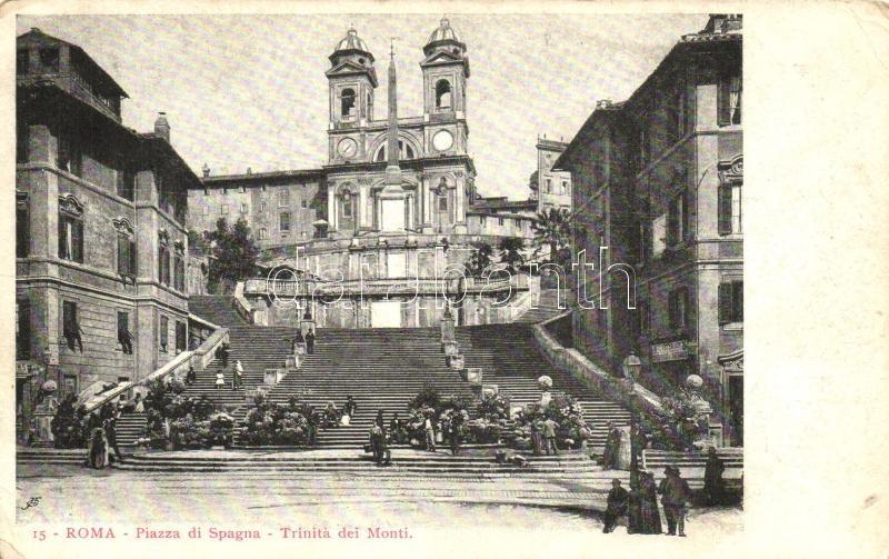 Rome, Roma; Piazza di Spagna, Trinita dei Monti