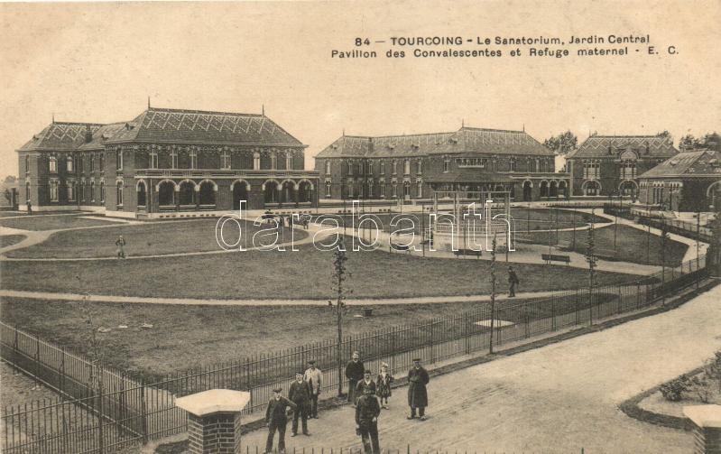 Tourcoing, Le Sanatorium, Jardin Central Pavilion des Convalescents et Refuge maternel / The Sanatorium, Central Garden, Pavilion of the convalescents,