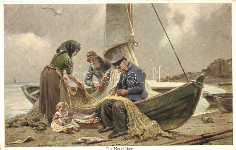 Halászok, hálószövés, Wohlgemuth & Lissner 'Künstler-Studien' No. 03385, 'Die Netzflicker' / Net weaving, fishermen, Wohlgemuth & Lissner 'Künstler-Studien' No. 03385