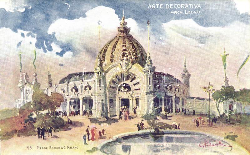 1906 Milano, Milan; Arte Decorativa, Arch. Locati / Exhibtion, Palace of Fine Arts, Pilade Rocco & C. Milano No. 8., s: G. Palanti