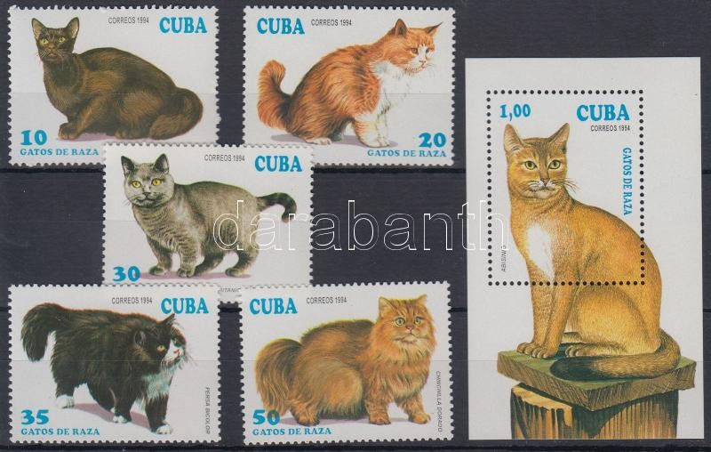 Cats 5 stamps + block, Macskák 5 klf bélyeg + blokk