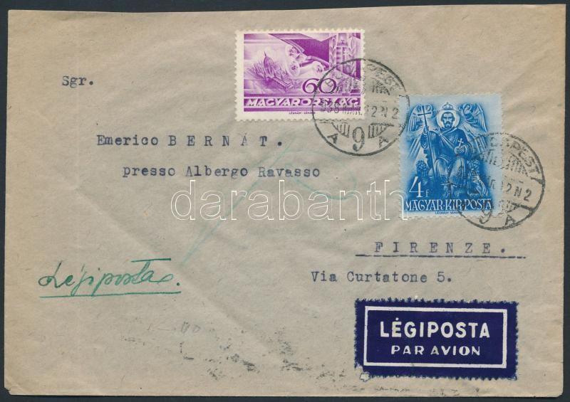 Airmail cover to Florence, Légi levél Firenzébe