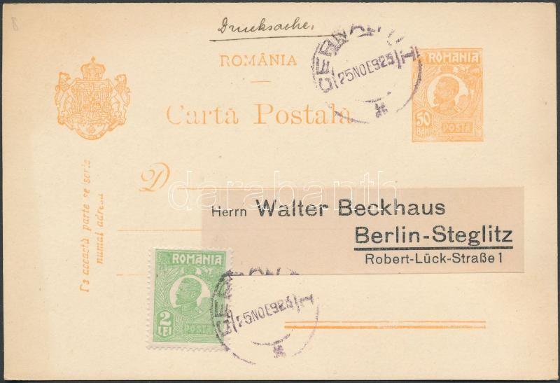 "PS-card with additional franking to ""CERNAUTI"" - Berlin, Díjkiegészített díjjegyes levelezőlap ,,CERNAUTI"" - Berlin"
