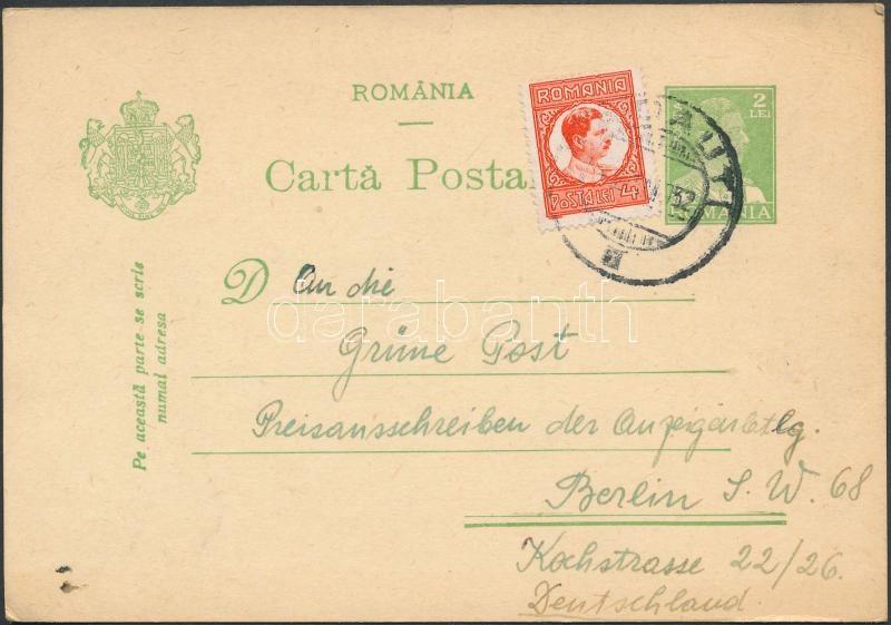 "PS-card with additional franking to ,,RADAUTI"" - Berlin, Díjkiegészített díjjegyes levelezőlap ,,RADAUTI"" - Berlin"