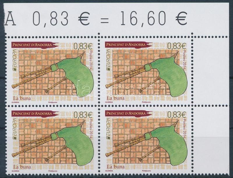 Europa CEPT, Folk instruments corner block of 4, Europa CEPT, Népi hangszerek ívsarki 4-es tömb