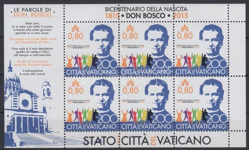 Giovanni Bosco mini sheet, Giovanni Bosco születésének 200. ébfordulója kisív