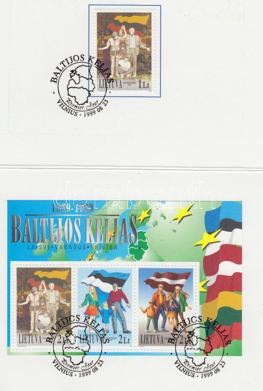 Baltic chain + block in memorial issue, Balti lánc + blokk emlék kiadványban