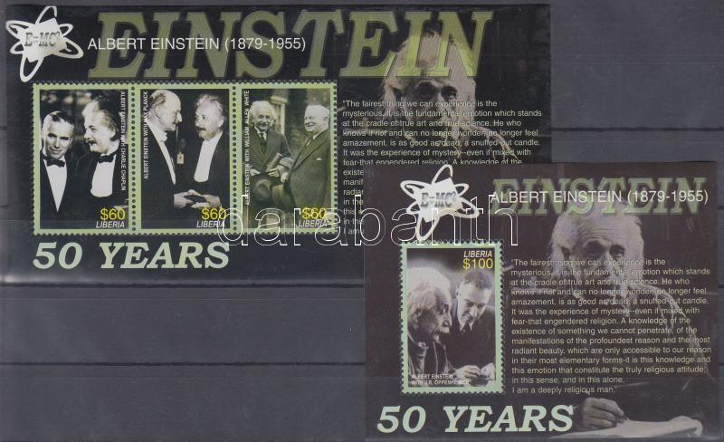 Einstein halálának 50. évfordulója kisív + blokk, Death Anniversary of Einstein minisheet + block