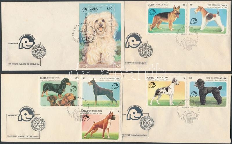 Symposium of Dog Food Association set + block 4 FDC, Kinológiai egyesület szimpóziuma sor + blokk 4 db FDC-n