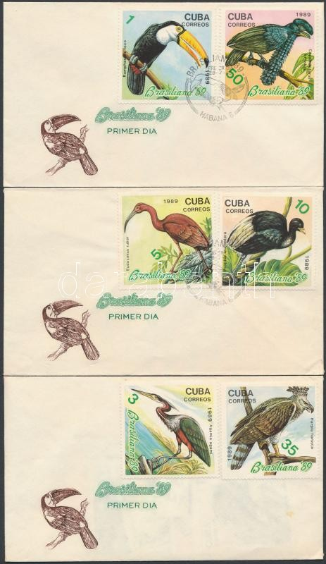 Brazil International Stamp Exhibition set 3 FDC, Brazil Nemzetközi bélyegkiállítás sor 3 db FDC-n