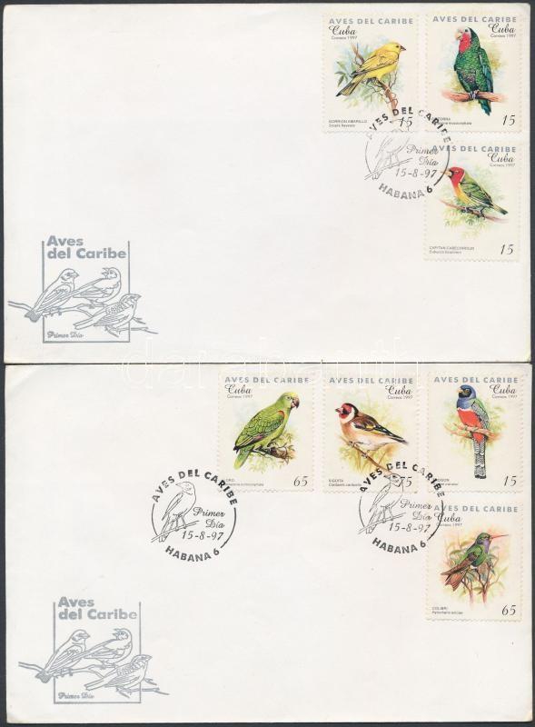 Caribbean Birds set 2 FDC, Karibi madarak sor 2 db FDC-n