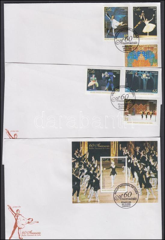 National Ballet set + block on 3 FDC, 60 éves a Nemzeti balett sor + blokk 3 db FDC-n