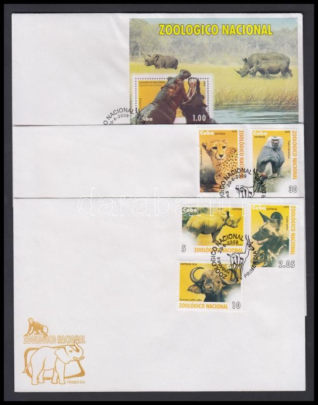 Animals in the zoo set + block on 3 FDC, Állatok a Havannai állatkertben sor + blokk 3 db FDC-n