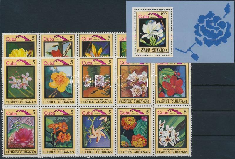 Flowers and birds set 15 stamps + block, Virágok és madarak sor 15 klf érték összefüggésekben + blokk