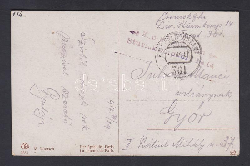 "Field post postcard ""K.u.k. Division Sturmkompanie No.14."" + ""FP 361"", Tábori posta képeslap ""K.u.k. Division Sturmkompanie No.14."" + ""FP 361"""