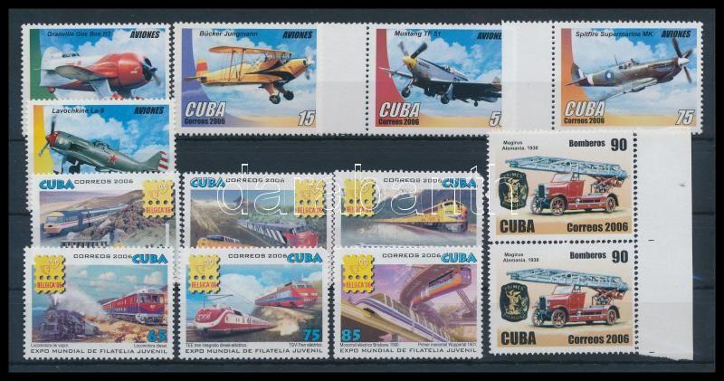 vehicles 13 stamps, Járművek 13 klf bélyeg közte ívszéli értékek
