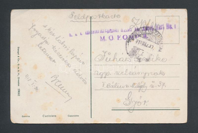 "Austria-Hungary field postcard, Tábori posta képeslap ""M.G. KOMP II."""