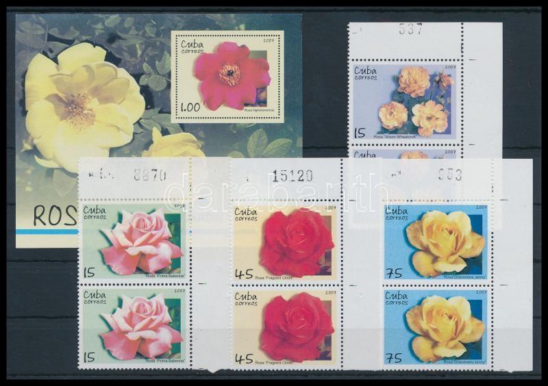 Roses 4 values corner pairs + block, Rózsák 4 érték ívsarki párokban + blokk