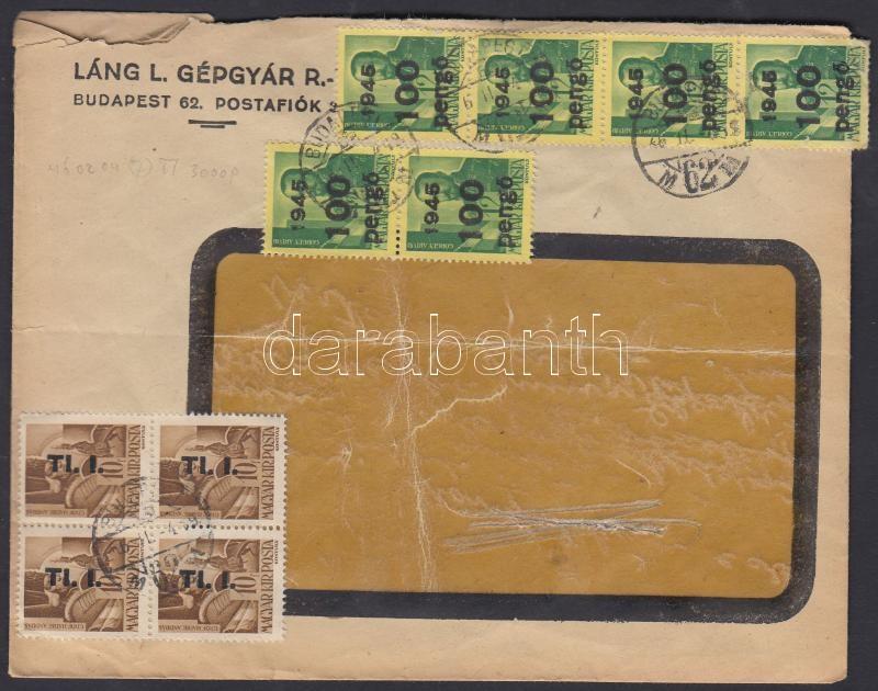 Inflation cover, (7.díjszabás) Távolsági ablakos levél Kisegítő 6x100P/12f + Betűs 4xTl.I/10f bérmentesítéssel (hajtóka hiányos)