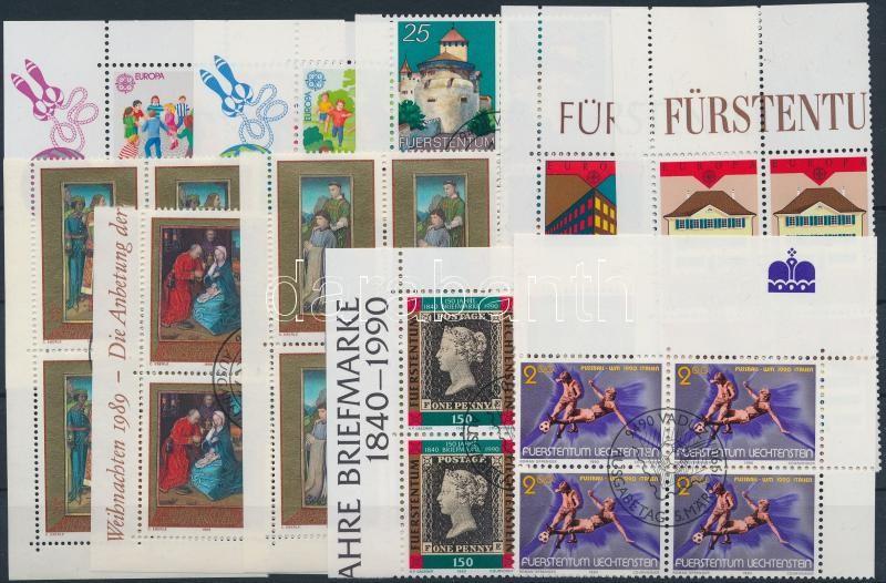 1989-1990 6 issues in blocks of 4, 1989-1990 6 db klf kiadás 4-es tömbökben, közte teljes sorok
