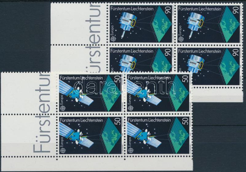 Europa CEPT, Space Research set corner blocks of 4, Europa CEPT, Űrkutatás sor ívsarki 4-es tömbökben