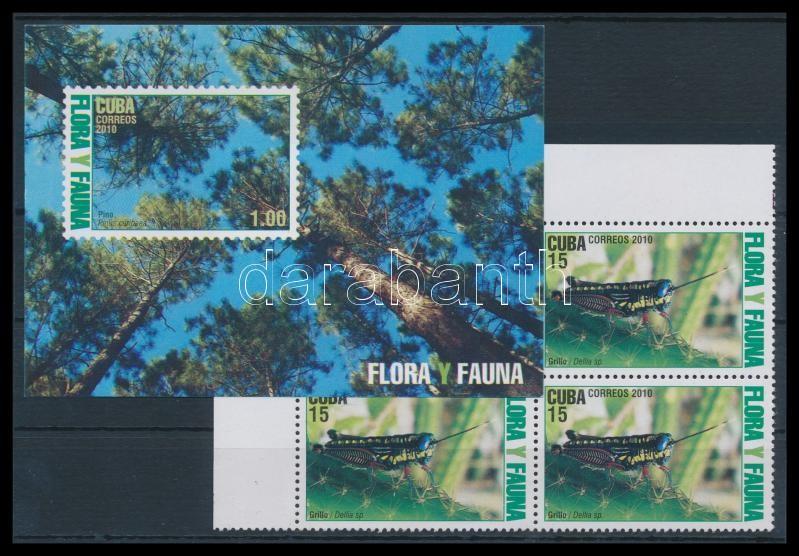 Flora and fauna corner block of 4 + block, Növény- és Állatvilág ívsarki négyes tömb + blokk