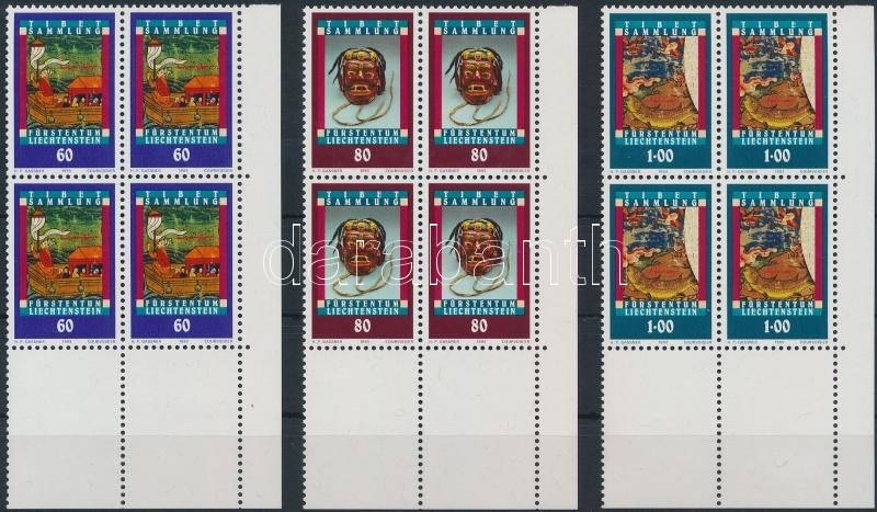 Tibetan collection set corner blocks of 4, Tibeti gyűjtemény sorívsarki 4-es tömbökben