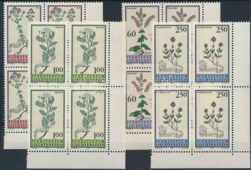 Herbs set corner blocks of 4, Gyógynövények sor ívsarki 4-es tömbökben