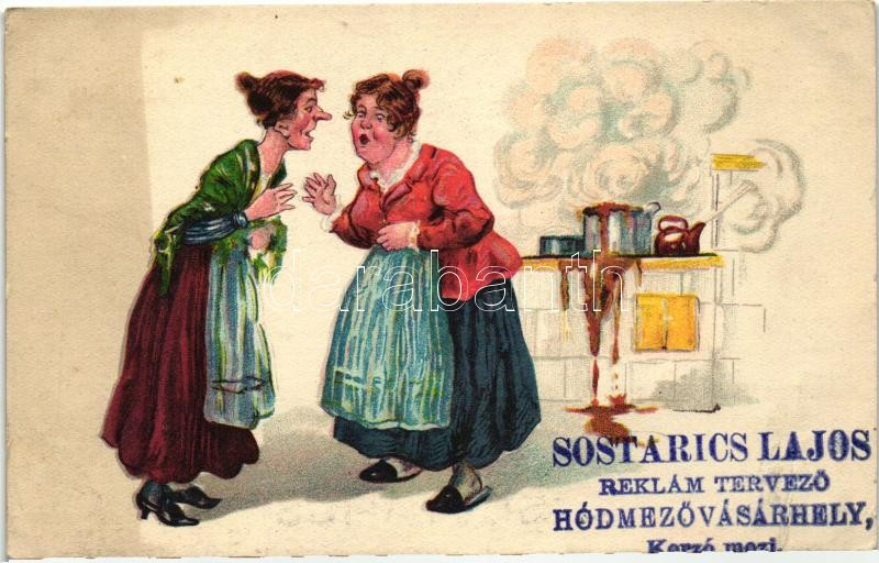 Gossiping women in the kitchen, humour (Sostarics Lajos gyűjteményéből), W.S.S.B. 209., Pletykálkodó nők a konyhában, humor, (Sostarics Lajos gyűjteményéből), W.S.S.B. 209.