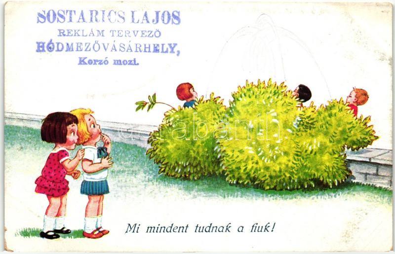 Pissing boys, humour (Sostarics Lajos gyűjteményéből), W.S.S.B. 8531., Mi mindent tudnak a fiúk (Sostarics Lajos gyűjteményéből), W.S.S.B. 8531.