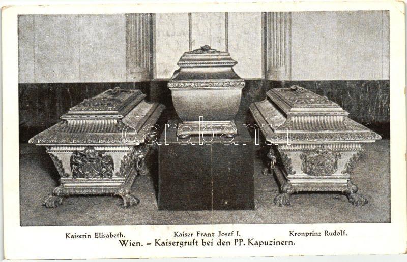 Vienna, Wien; Kaisergruft bei den PP. Kapuzinern, Sarg der Kaiserin Elisabeth, Kaiser Franz Josef I, Kronprinz Rudolf / Austrian royal caskets in Vienna