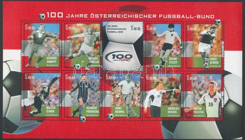 Centenary of Austrian Football Association mini sheet, 100 éves az osztrák labdarúgó-szövetség kisív