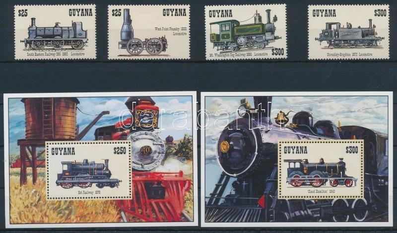 Locomotive set + mini sheet set + block set, Mozdony sor + kisívsor + blokksor