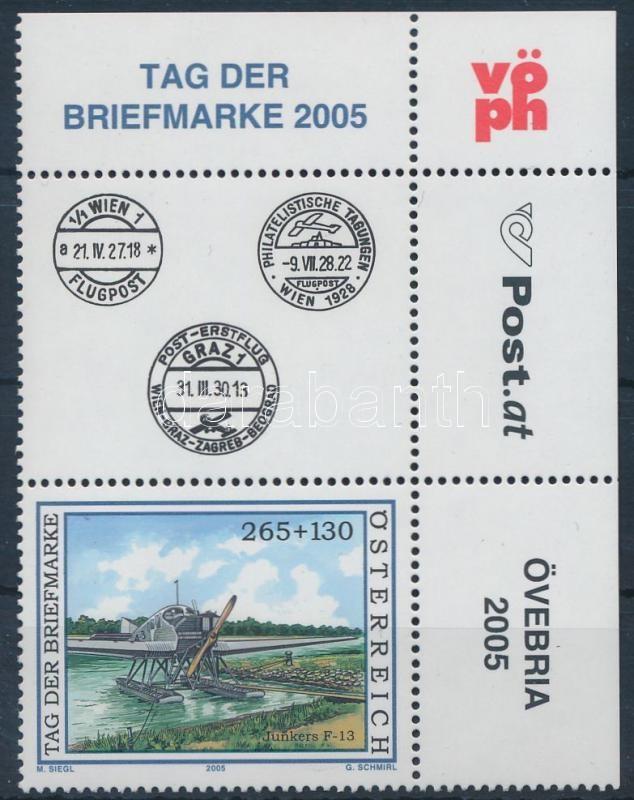 Stamp Day; Flight corner stamp with coupon, Bélyegnap; Repülő ívsarki szelvényes bélyeg
