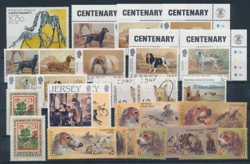 Cats and Dogs 32 stamps, Macska és kutya motívum 32 db bélyeg, közte sorok 2 stecklapon
