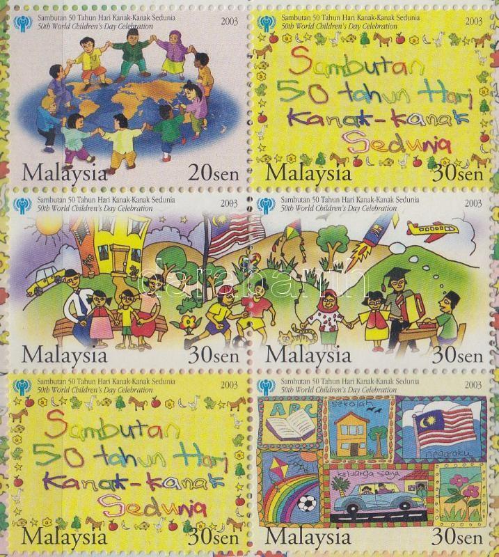Children's Day set block of 6 stamp-booklet, Gyermeknap sor hatostömbben bélyegfüzet borítóban