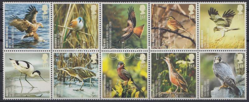 Birds set block of 10, Madár sor tízestömbben