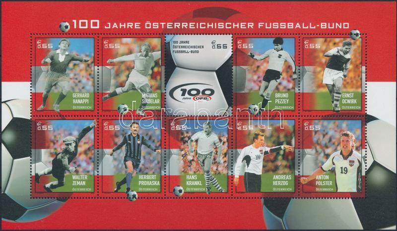 Centenary of Austrian Football Association mini sheet, 100 éves az Osztrák Labdarúgó Szövetség kisív